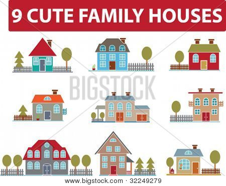 9 cute family houses. vector