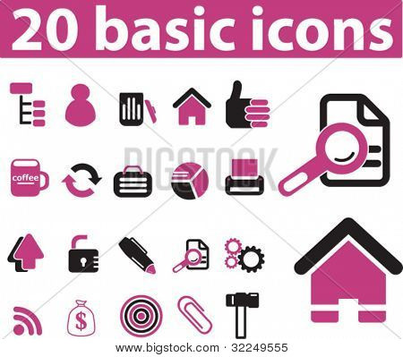 20 basic icons. vector