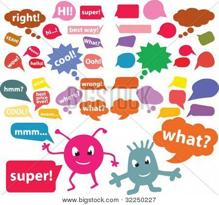 color bubble chat signs. vector