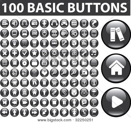 100 basic buttons. vector