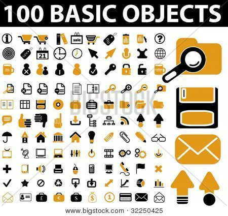 100 basic objects. vector