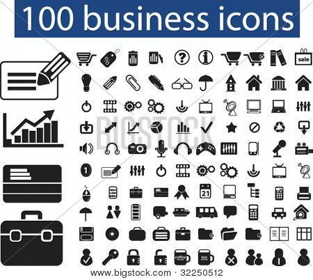 100 business icons. vector