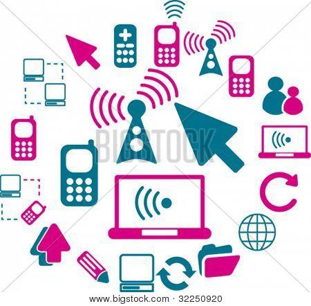 20 señales de comunicación. Vector