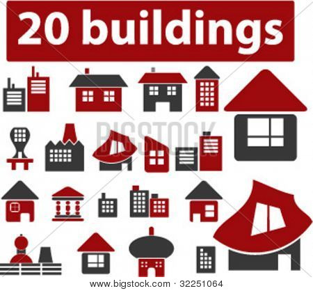 20 cute original buildings. vector