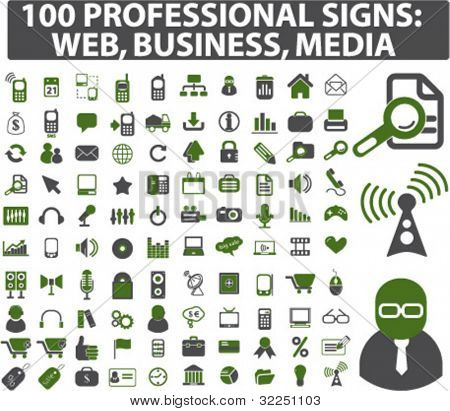 100 professional signs: web, business, media. vector