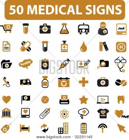 50 medical & health care signs - mega set. vector