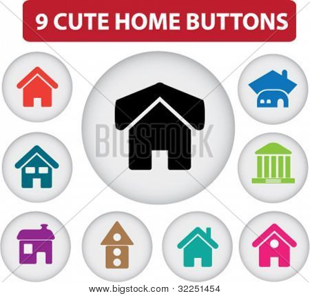 9 cute home buttons. vector