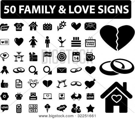 50 family & love signs. vector