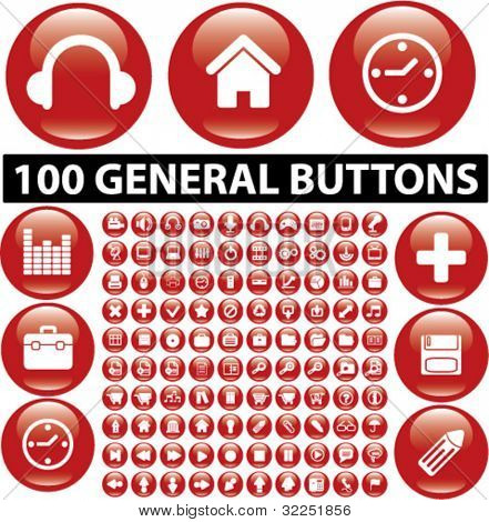100 general glossy red buttons. vector