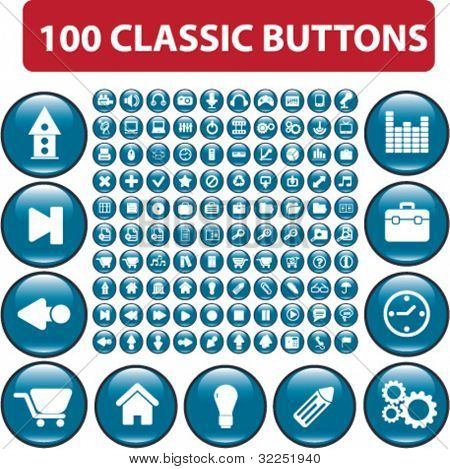 100 classic glossy buttons. vector