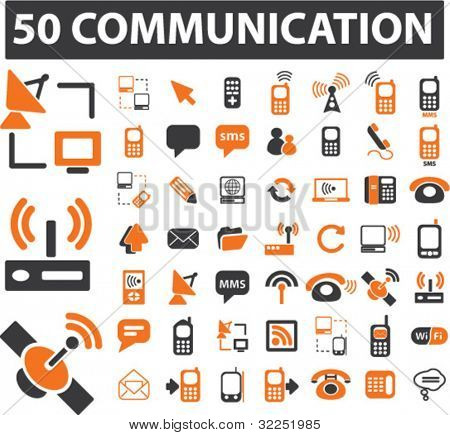 50 mega communication signs. vector