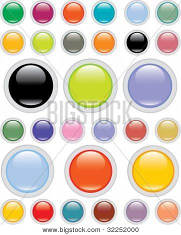 24 mega color glossy buttons. vector