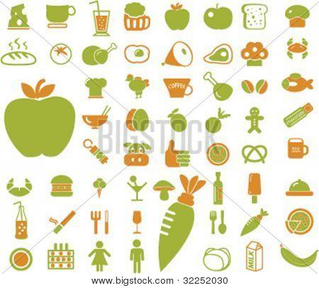 50 eco food & drink signs. vector