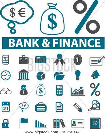 30 bank & finance signs. vector