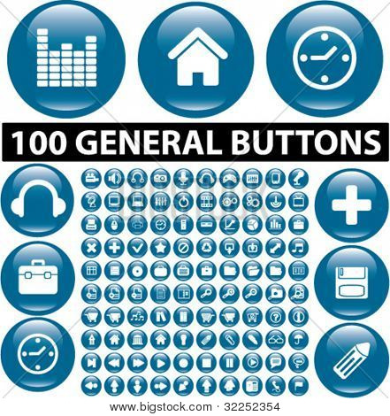 100 general glossy buttons. vector