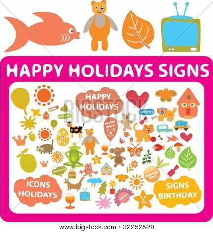 50 happy holidays signs. vector