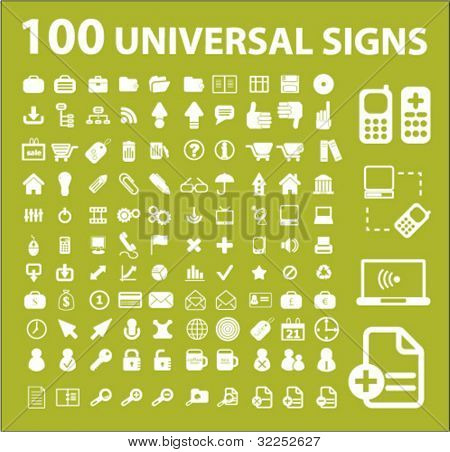 100 universal signs. vector