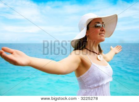 Beach Woman Enjoying Freedom