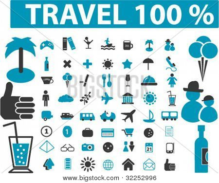 100% travel signs. vector