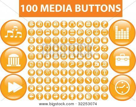 100 orange media buttons. vector