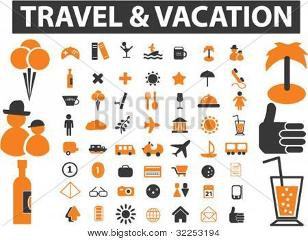 mega travel & vacation signs. vector