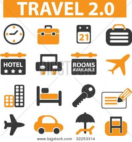travel 2.0 signs. vector