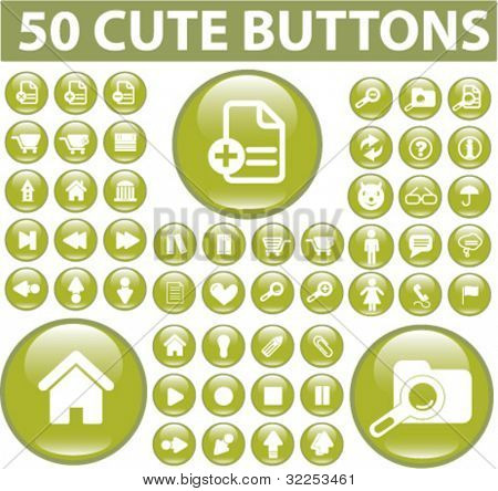 50 cute general buttons. vector