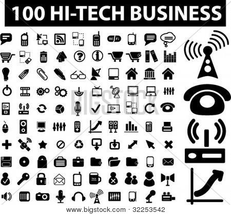 100 hi-tech business signs. vector
