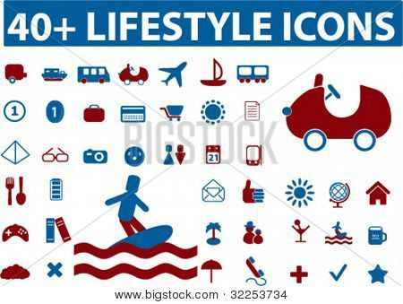 40+ lifestyle icons. vector