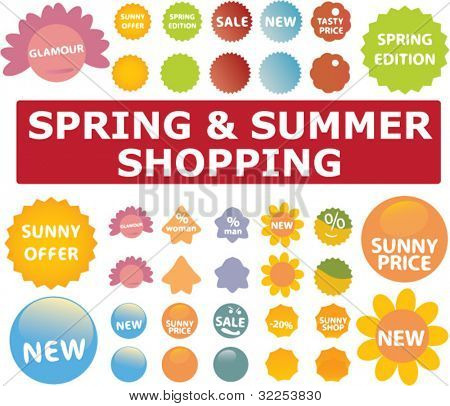 mega spring & summer shopping stickers. vector