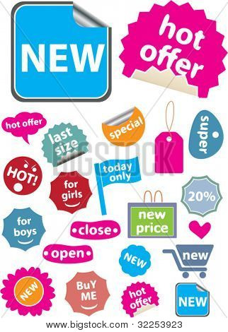 20 mega colorful shopping stickers. vector
