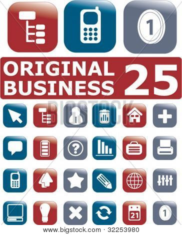 25 original business square buttons. vector