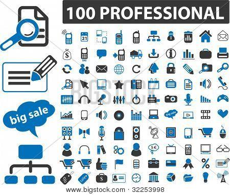 100 professionelle Zeichen. Vektor