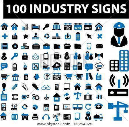 100 Industrie-Zeichen. Vektor
