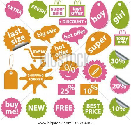 20 cute shopping stickers. vector