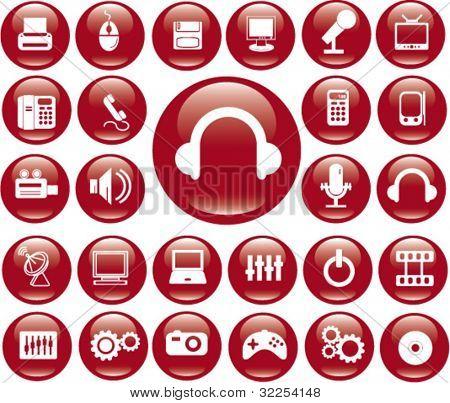 25 computer & electronics buttons. vector
