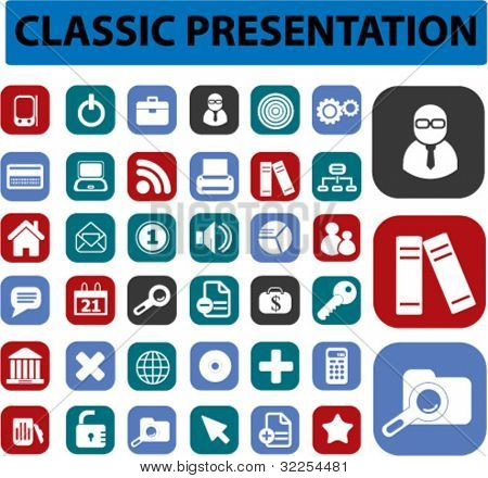 classic presentation buttons. vector