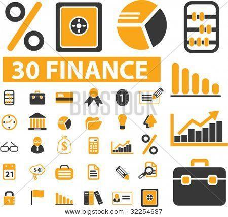 30 finance & marketing presentation signs. vector