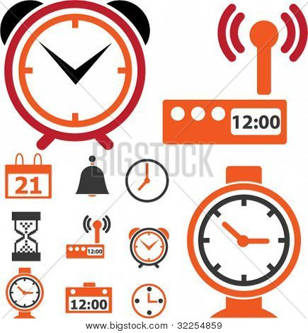 9 time & clock signs. vector