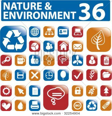 36 nature & environment buttons. vector