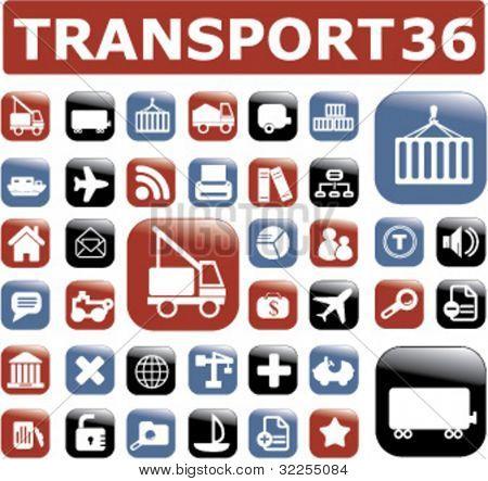 36 transport buttons. vector