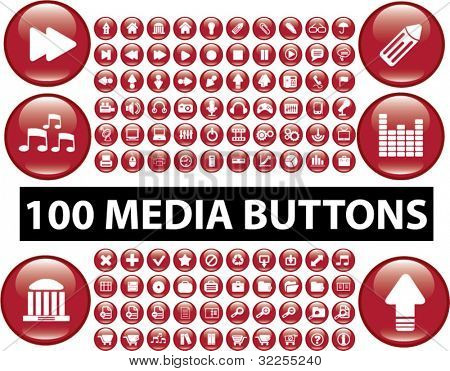 100 cute media buttons. vector