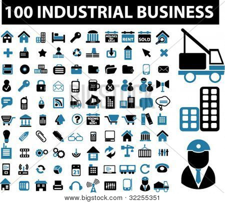 100 industrial signs. vector