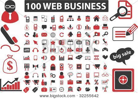 100 web business signs. vector