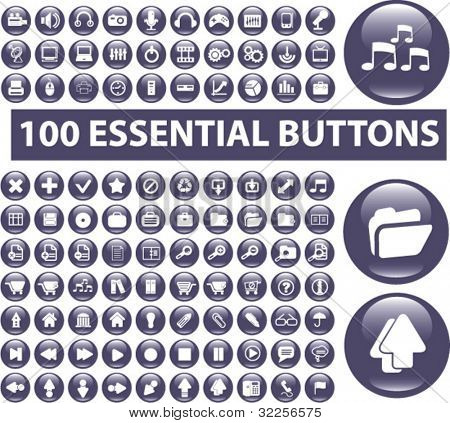 100 essential buttons. vector