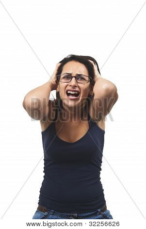 Portrait Of Attractive Surprised Excited Scared Screaming Girl, Hold Hands On Head, Open Mouth With