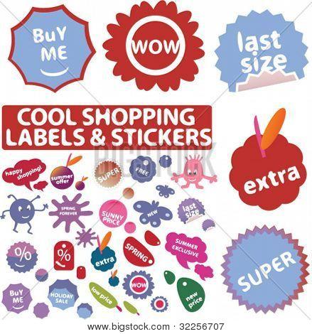 Mega cool comercial etiquetas & adesivos. vector
