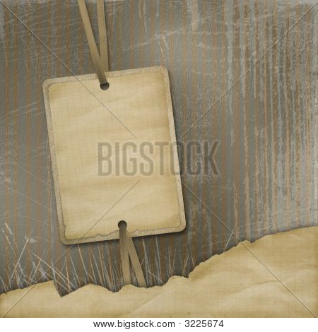 Old Invitation With Ribbons On The Grunge Background
