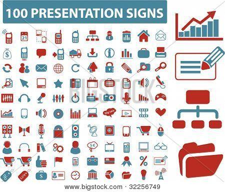 100 presentation signs. vector