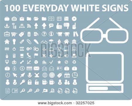 100 täglichen weißen Zeichen. Vektor